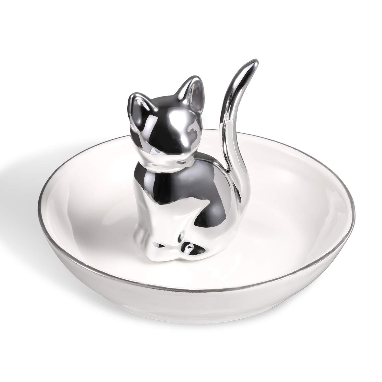 ROSA&ROSE Cat Ring Holder Trinket Tray Ceramic Jewelry Dish Porcelain Home Decor (Silver/White)