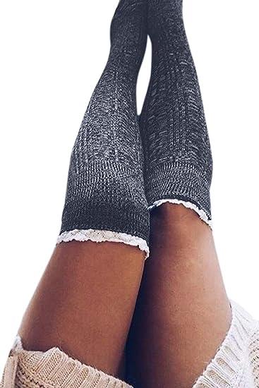 Zinmuwa Mujeres Muslo Medias Altas Calcetines Por encima de la rodilla Medias Chicas Gris One Size: Amazon.es: Ropa y accesorios