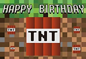 HUAYI 6.5'x5' TNT Pixel Backdrop for Birthday Game Themed Party Background Photo Booth - Stretch Resistant Econ Vinyl FW-2193