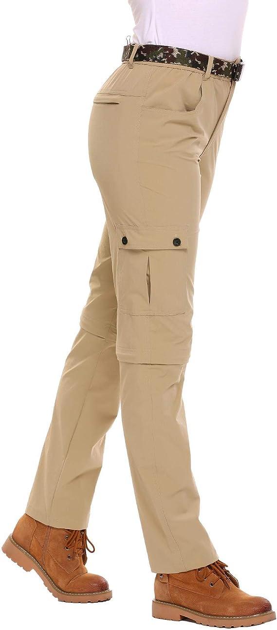 Zeagoo Women Anytime Quick Dry Convertible Lightweight Hiking Fishing Zip Off Cargo Work Pant