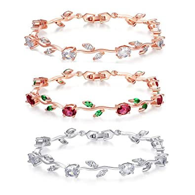 a3eaa74dfdd9d2 Image Unavailable. Image not available for. Color: 18k Rose Gold Plated  Sterling Silver Diamond Two-Tone Gemstone Tennis Bracelet ...