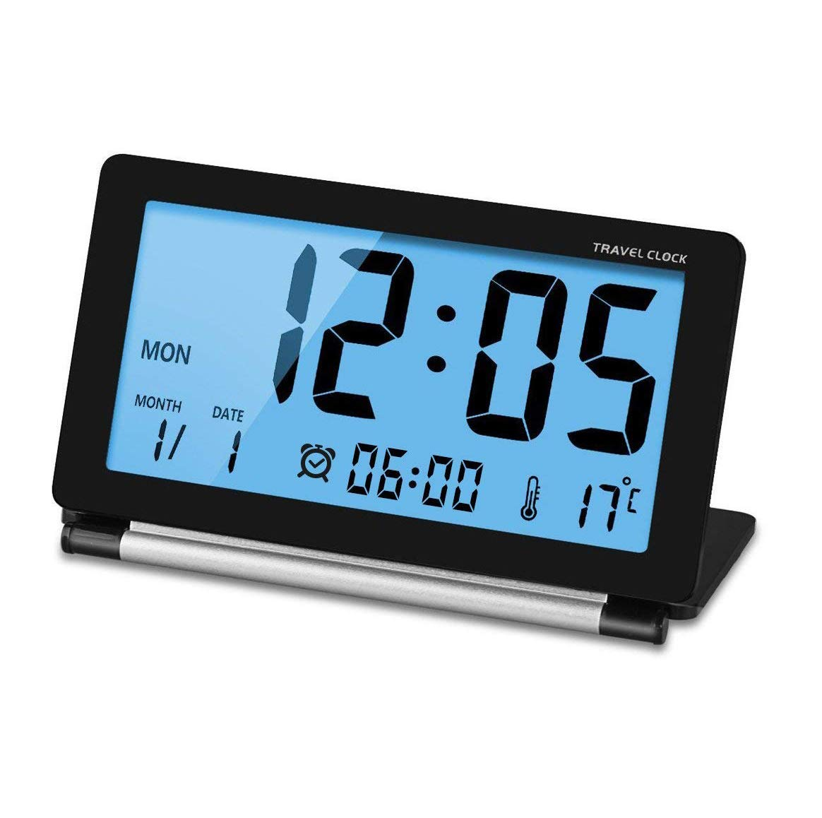 Manfore Smart Portable Travel Clock Large LCD Screen Battery Operated Desktop Table Bedside Small Clock with Calendar Temperature Snooze Night Light Function for Home Office Travel Use (Black)