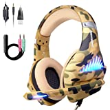 Comfortable PS4 Gaming Headset, Professional 3.5mm Headset with Rotatable, Noise Reduction Mic for PS4, Nintendo Switch,Xbox One, PC, Laptop, Mac,Smart Phone(Over-Ear And LED Lighting) (Camouflage)