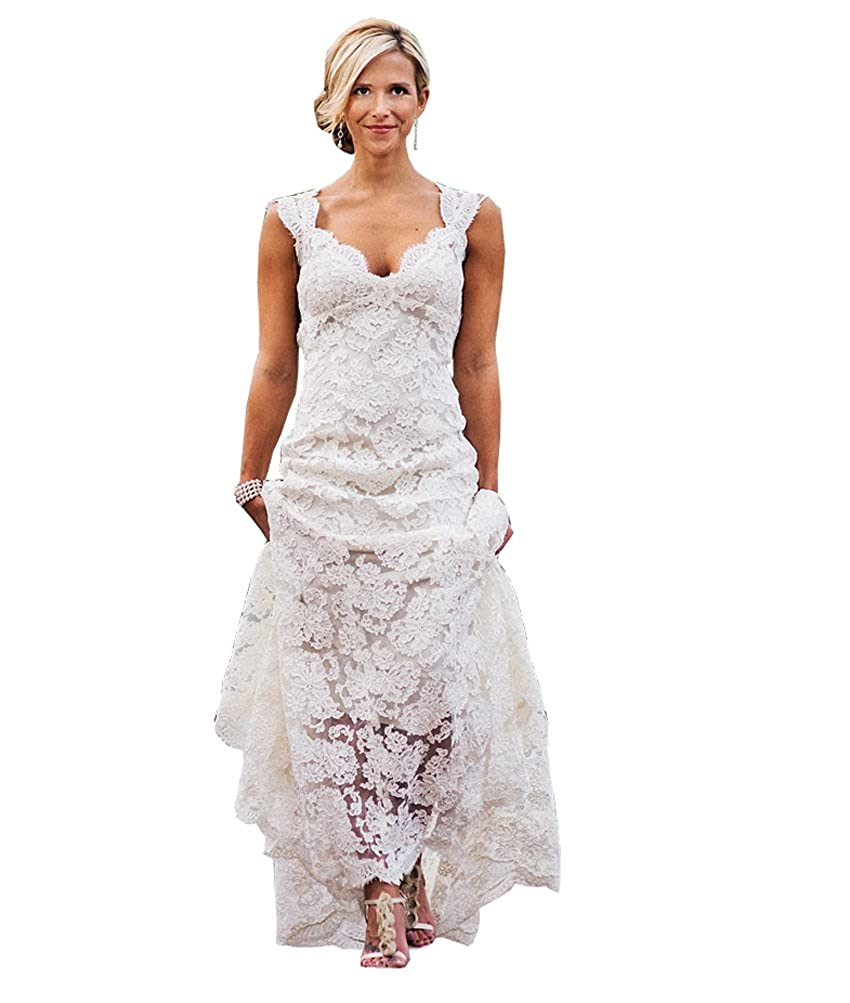 ad07fb62ddc QiJunGe Women s Elegant Country Lace Wedding Dresses Keyhole Back Bridal  Gowns at Amazon Women s Clothing store