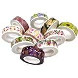 Poproo Floral Washi Tape Collection Set of 10, Decorative Craft Tape for Scrapbooking Decorating and Gift Wrapping (Color2)