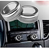 Xotic Tech 2pcs Anodized Aluminum AC Climate Control Knob Ring Volume Knob Decor Cover for Porsche Cayenne Macan Panamera Silver