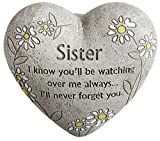 """Sister"" Engraved Painted Heart Sibling Memorial Garden Stone, Cement Construction, 6""L x 6""W x 3""H Review"