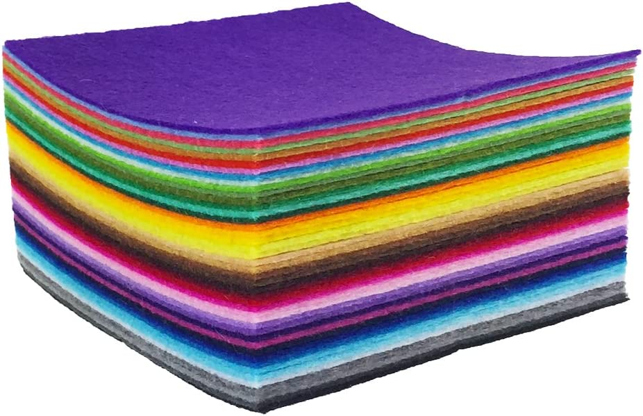 Assorted Color Mini Felt Fabric Sheets Patchwork Sewing DIY Craft 1mm Thick 88pcs 4 x 4 inches 10 x 10cm