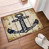 Nautical Decor Shower Mats, Rustic Anchor On Grungy Wood Plank Non-Slip Floor Entryways Outdoor Indoor Front Door Mat,60x40cm Bath Mat Bathroom Rugs, Teal Brown, Navy Blue