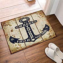 Nautical Decor Shower Mats, Rustic Anchor On Grungy Wood Plank Non-Slip Floor Entryways Outdoor Indoor Front Door Mat,60x40cm Bath Mat Bathroom Rugs, Teal Brown, Navy Blue