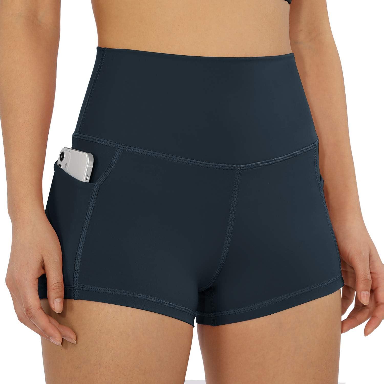"ODODOS Women's 5""/2.5""/9"" High Waist Bike Shorts with Pockets Workout Sports Athletic Running Biker Yoga Shorts: Clothing"