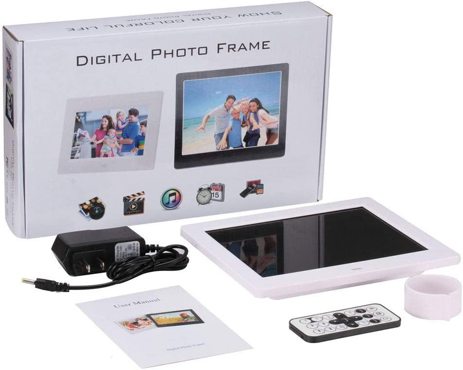Photo//Music//Video Support DAETNG Digital Picture Frame 8 Inch 1024768 Hi-Res Display Electronic Photo Frame with Remote Control Built-in Stereo Speakers Two USB Connection,Black