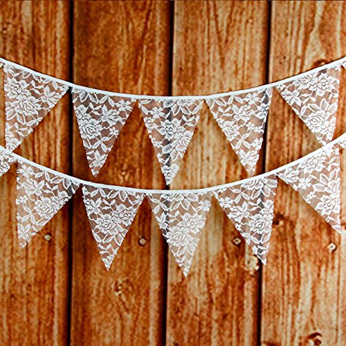 FirstKitchen Lace Bunting 3.3M/10Feet Vintage Flag Banner Pennant Garland Fabric Triangle Flags Lovely Cloth Shabby Chic Decoration for Birthday Retro Wedding Parties ()