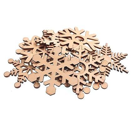 40 Holz Schneeflocken weiß Streuteile Weihnachten Tischdeko Streudeko basteln