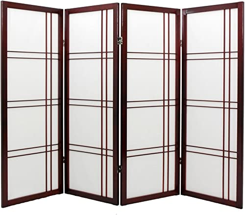 ORIENTAL Furniture Fireplace Sized, Double Cross Japanese Shoji Folding Screen Room Divider, Natural 6 Panel