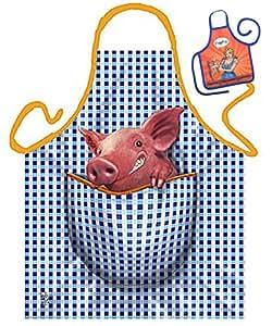 Cerdito–Delantal de cocina Delantal Back Delantal Servir Tema, con divertido Mini Delantal