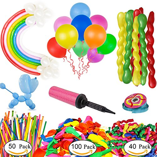 192 Pieces Party Balloons, Rainbow Color Latex Strip Shape Magic Animals Balloons,3 Style, With Hand Held Air Inflator, And a Roll Of Ribbons For Party Decoratons, Children Gift(3 (Balloon Strip)