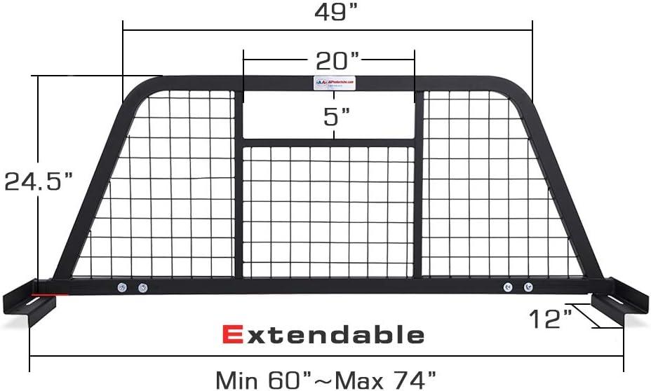 AA-Racks Model HX-501 Extendable Steel Pickup Truck Headache Rack Sandy Black