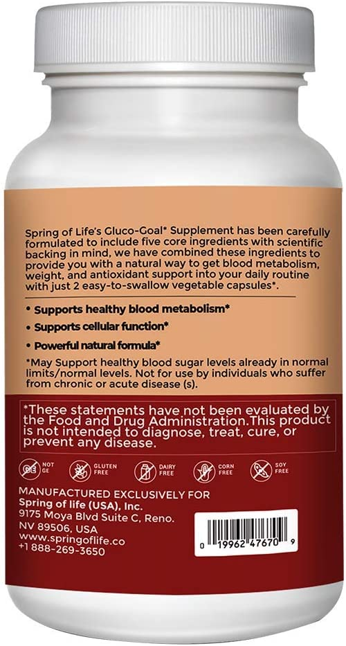 Spring of Life Gluco-Goal - Supports Healthy Blood Sugar Levels - 60 Capsules
