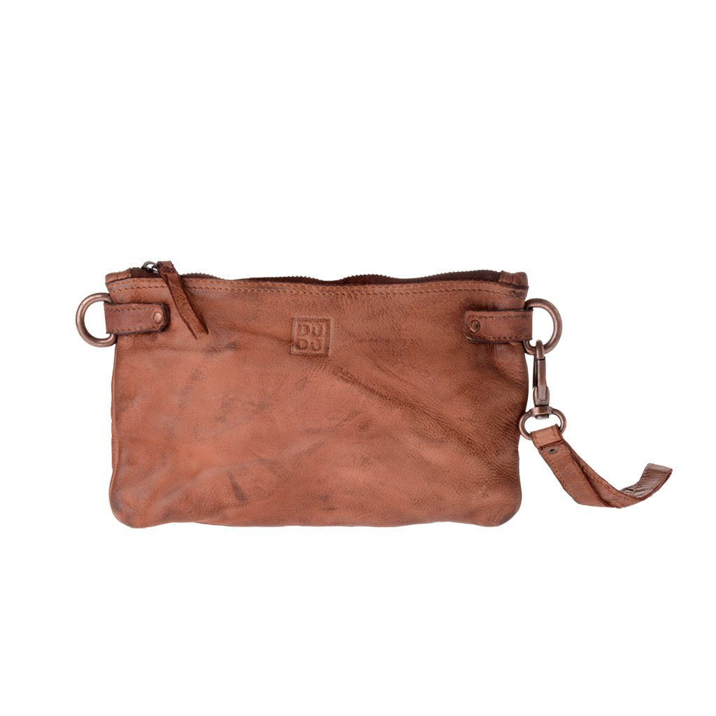 Woman's large clutch bag leather shoulder and wrist strap DUDU - 580-1149 Timeless ~ Pochette - Onyx Brown