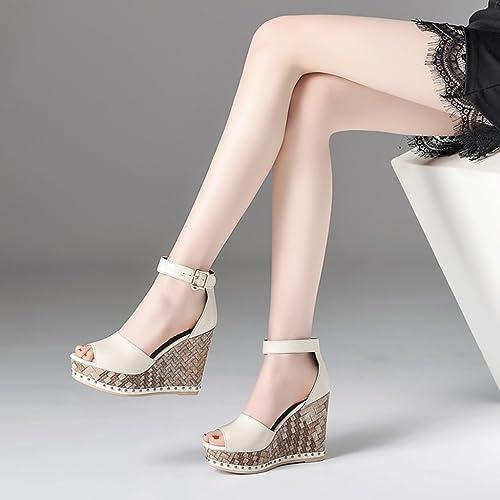 Tacón Sandalias Plataforma Cuero Zapatos De Mujer qRxtaEO0