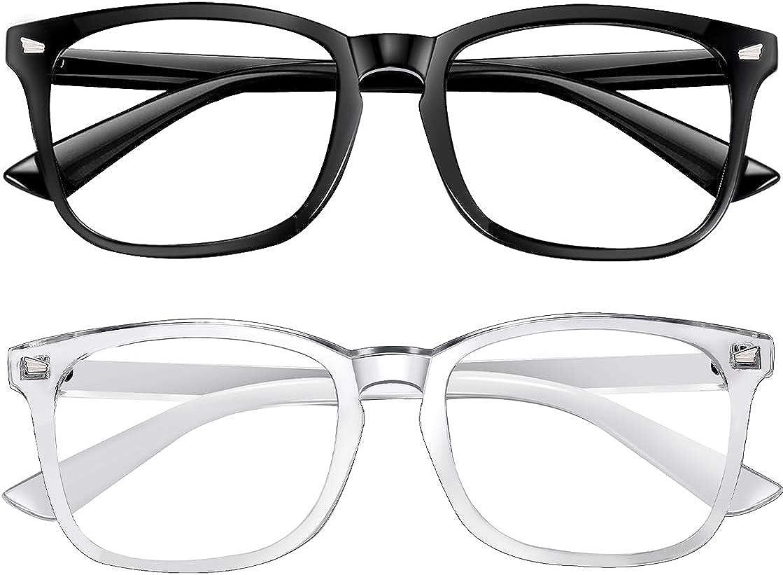 Blue Light Blocking Glasses 2pack Square Computer Glasses Women/Men, Nerd Reading Gaming Glasses Non Prescription