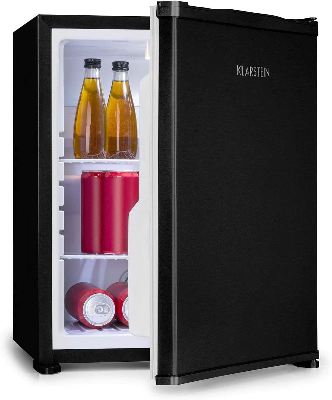 56 cm Height 2 Shelves Silent 0dB Automatic Defrost System No Frost 44 Litre Capacity Klarstein Nagano M Mini Fridge Cooling from 0-8 /° C Black Noiseless 3 Door Compartments