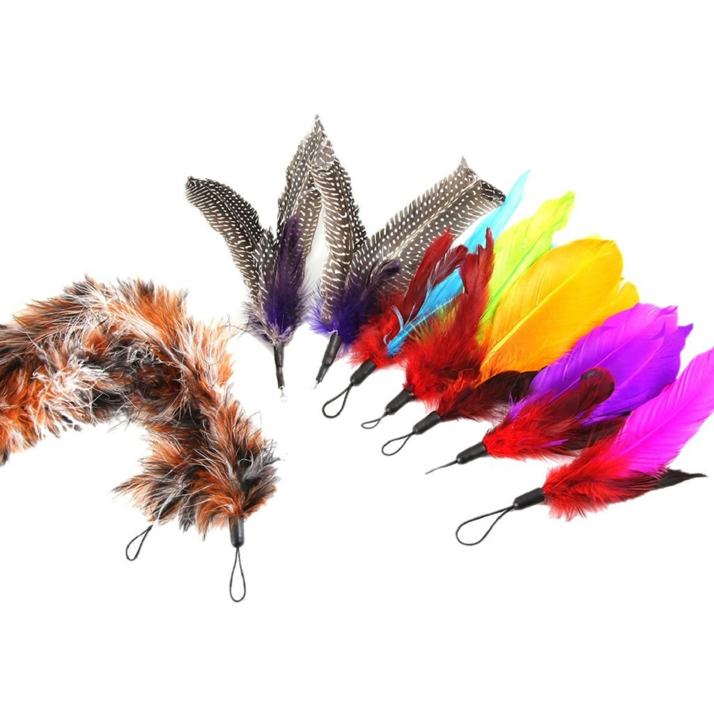 9Pcs Replacement Refills Furry Feathers for Cat Kitten Interactive Toy Wand Sanwood