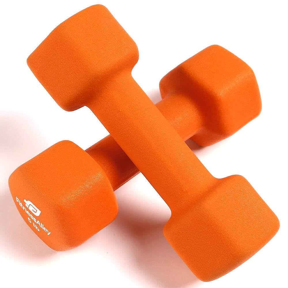 Fitness Alley 5lb Neoprene Dumbbell Set Coated Non Slip Grip - Hex Dumbbells Weight Set - Hand Weights Set - Neoprene Weight Pairs - Hex Hand Weights - Set Two Neoprene Dumbbells, 5 lb -Orange