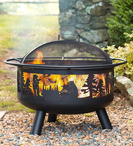 Plow & Hearth Bear Camp Fire Pit with Domed Spark Guard
