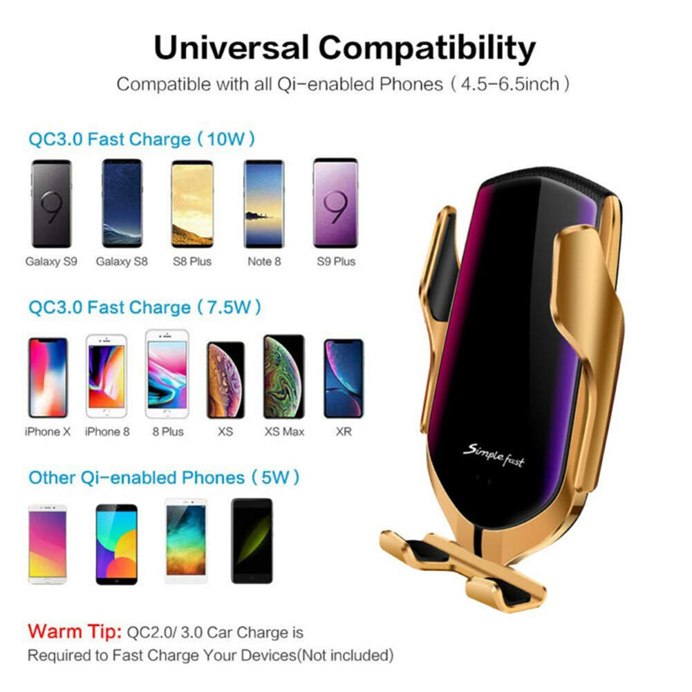 Gold Dragon Honor Automatic Clamping Smart IR Sensor Car Mount Phone Wireless Charger Holders Rack