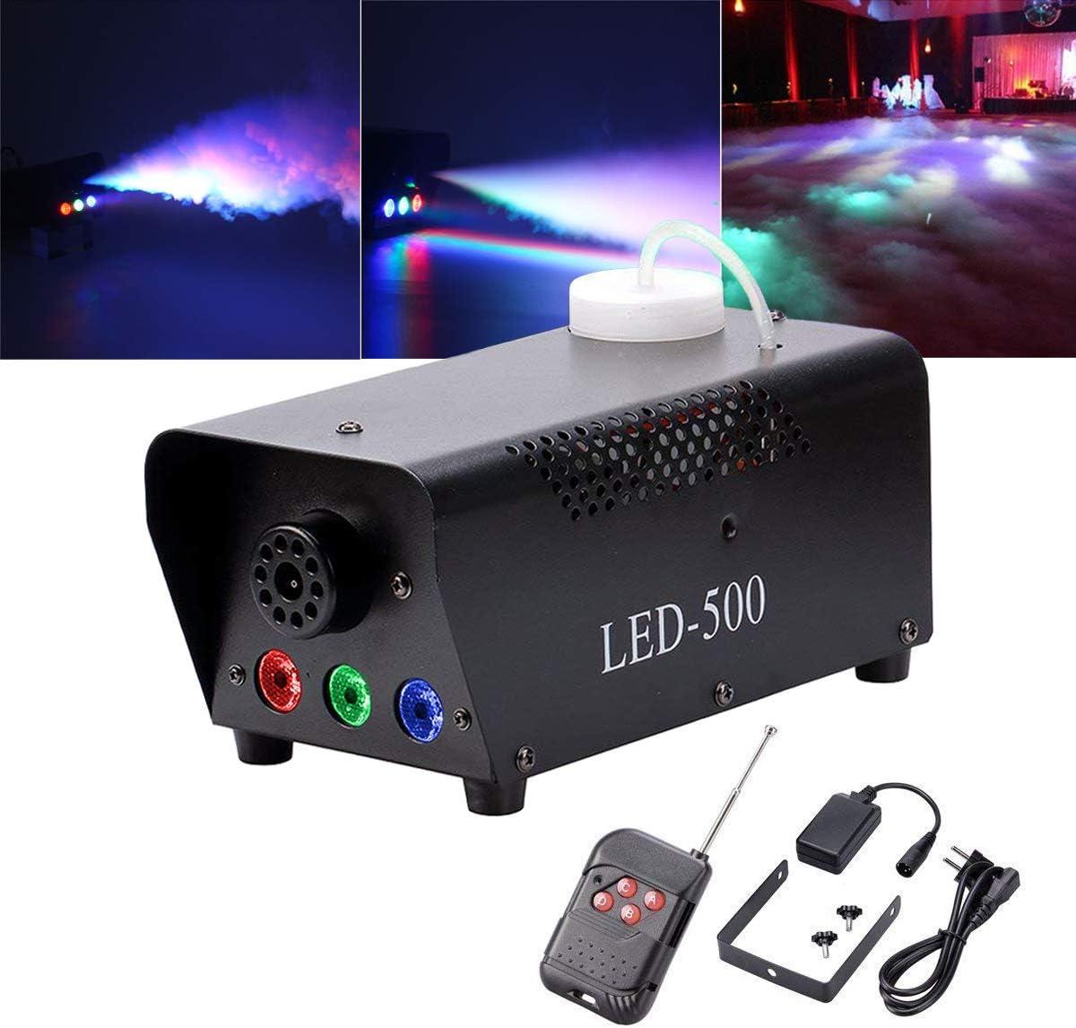 Yimosi - Máquina de humo de 500 W con luces LED RGB y mando a distancia para DJ, Club, boda, cumpleaños, fiesta, discoteca, bar