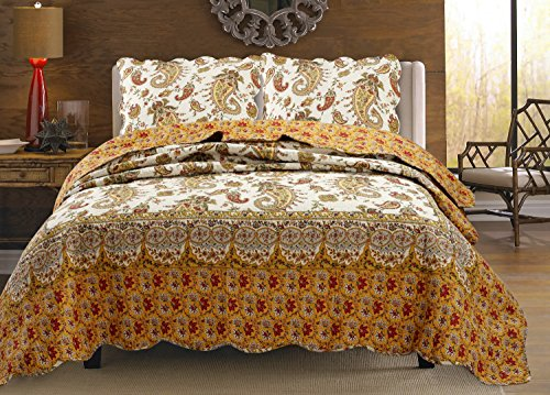 Cozy Line Home Fashions Renaissance Burgundy Red Gold Yellow Paisley Print Pattern Bedding Quilt Set, 100% Cotton Reversible Bedspread, Coverlet for Women. (Renaissance, Queen - 3 Piece)