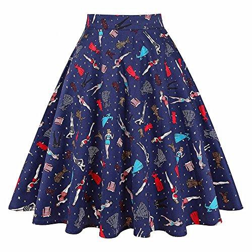 - Aierwen Summer Skirt Women High Waist Plus Size Floral Print Ladies Summer Skirts Skater Vintage Midi Skirt Biniki Girl S