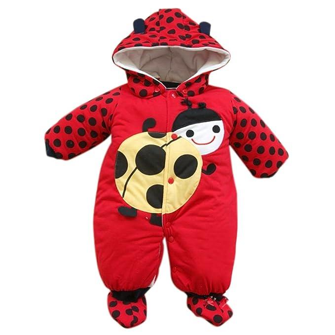 yhnew cálido pelele para bebé con capucha invierno niños niñas trajes recién nacido Cartoon Ropa rojo rosso Talla:80(3-6M): Amazon.es: Bebé