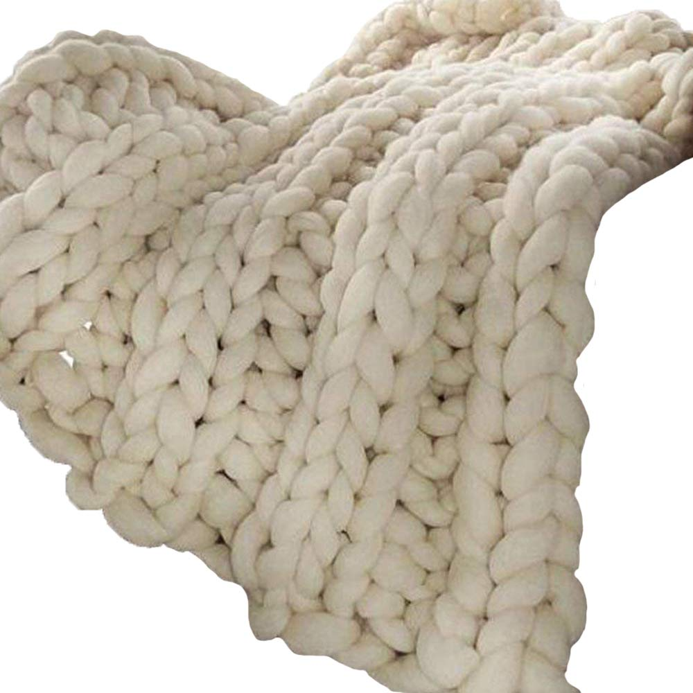 Cream 50x60in Chunky Knit Blanket,Blanket,Chunky Knit,Chunky Throw,Chunky Blanket,Giant Knit Blanket,Knitted Blanket,Arm Knitted Blanket by Popular Knit Chunky Blanket (Image #1)