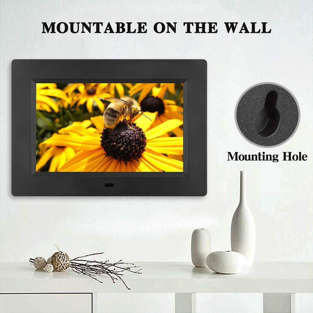MRQ 7 Inch Digital Photo Frame Play Photos with Slideshow, Full HD IPS Display 180° View Angle Digital Picture Frame with MP3, Calendar, Alarm, Remote Control Function, Support USB and SD Card by MRQ (Image #6)