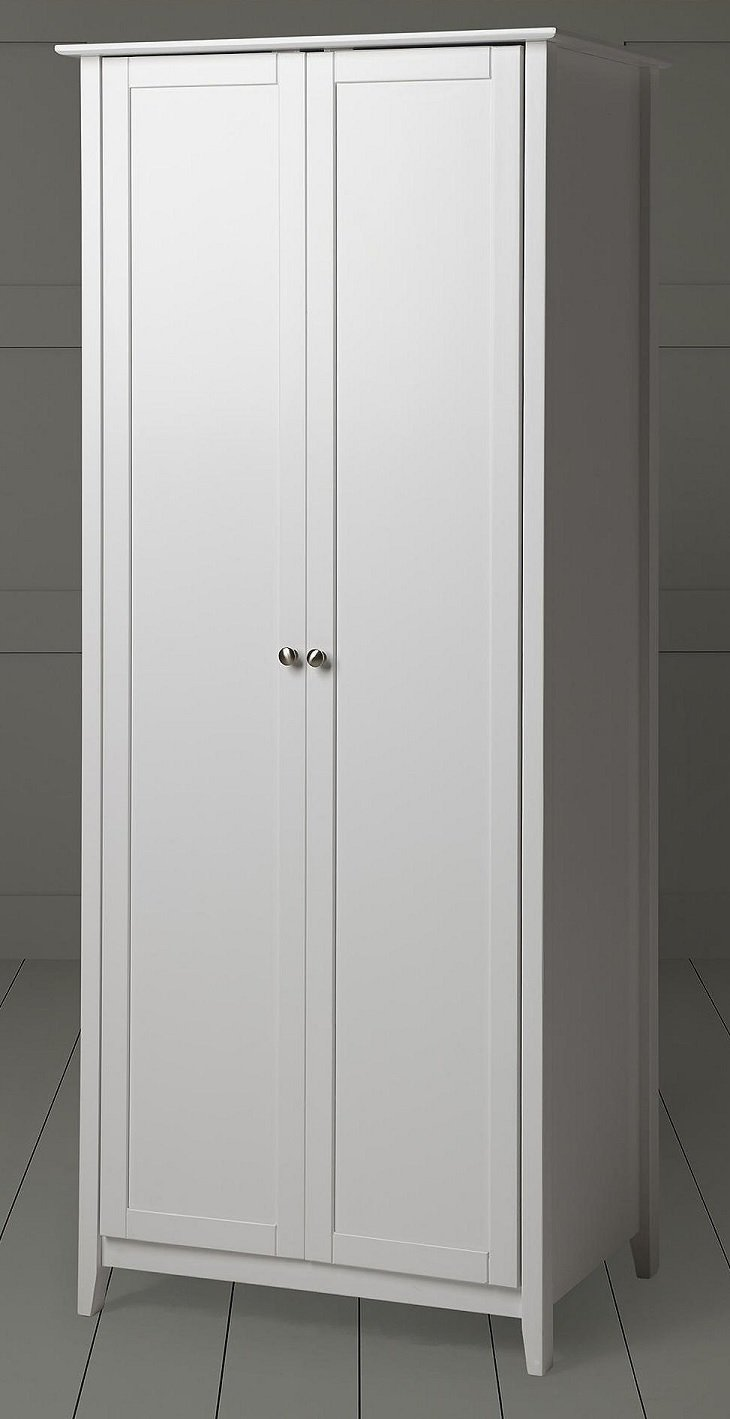 Tesco Solid Pine Sharker Style Skandi 2 Door Double Wardrobe - White