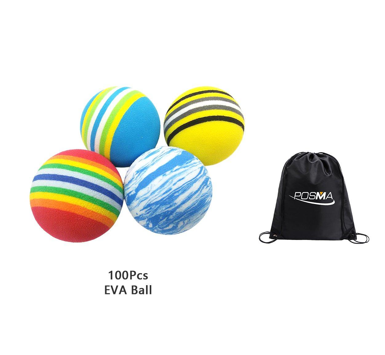 POSMA EB010 Multi Color Golf Foam Practice Balls 100pcs bundle gift set with Cinch Sack Carry Bag- soft elastic golf balls golf training