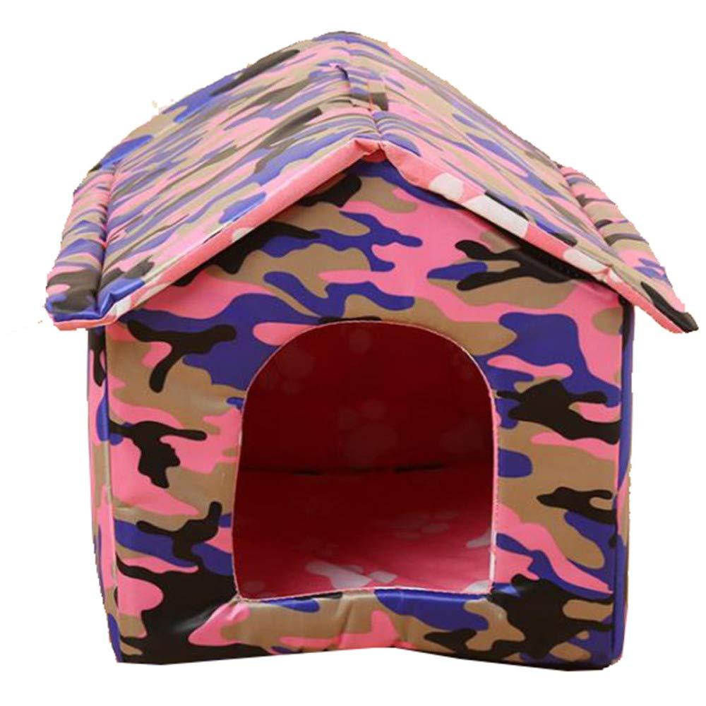 JIAQING Moda Mascota Nido Gato Camada Perrera Al Aire Libre Gato A Prueba De Lluvia Casa Casa del Animal Doméstico Plegable Lona Impermeable Lavable,Camouflage(M)
