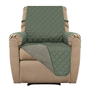 Easy-Going Recliner Sofa Slipcover Reversible Sofa Cover Furniture Protector Couch Cover Water Resistant Elastic Straps PetsKidsDogCat(Recliner,Greyish Green/Beige)