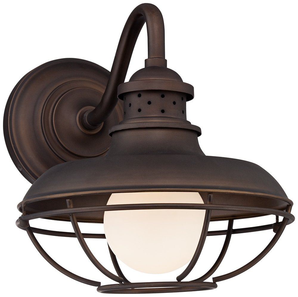 """Franklin Park Metal Cage 13"""" High Bronze Outdoor Wall Light by Franklin Iron Works"""