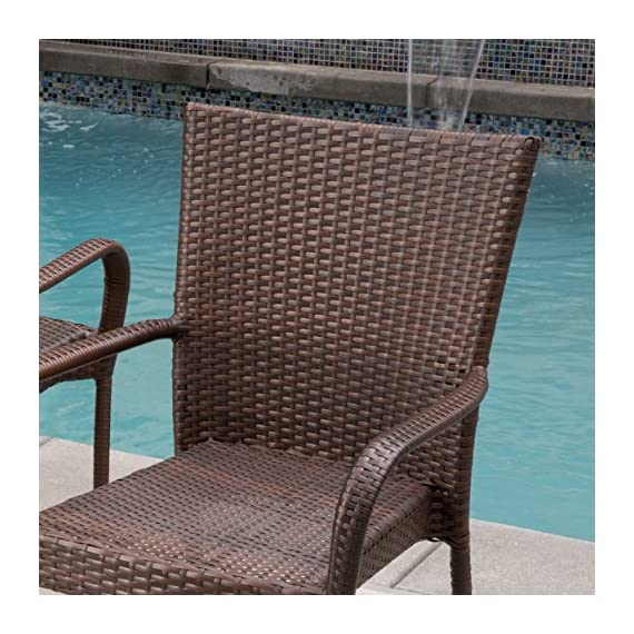 Christopher Knight Home Littletone 5 Piece Outdoor Wicker Dining Set | Perfect for Patio | in Multibrown - Includes: One (1) Table Four (4) Chairs Materials: Metal & Faux Wicker Table Dimensions: 28.70 inches high x 34.00inches wide x 34.00 inches length Chair Dimensions: 34.80 inches high x 25.00 inches wide x 25.50 inches deep Seat Width: 16.10 inches Seat Depth: 20.50 inches Seat Height: 19.60 inches - patio-furniture, dining-sets-patio-funiture, patio - 61TWpvE1tBL. SS570  -