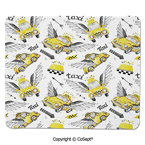 Mouse Pad,Watercolor Hand Drawn Flying Taxis with Magical Wings Direction Arrows Travel Cab Decorative,for Computer,Laptop,Home,Office & Travel(15.74