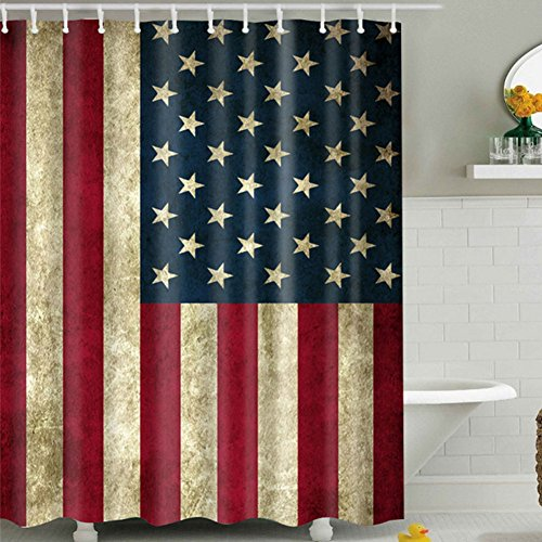 Miss-Loly Stars And Stripes Shower Curtain, Mildew Resistant Waterproof 3D Digital Printing Polyester Fabric Shower Curtains with 12PCS Hook, 72'' x - Stripe Curtain 3 Shower