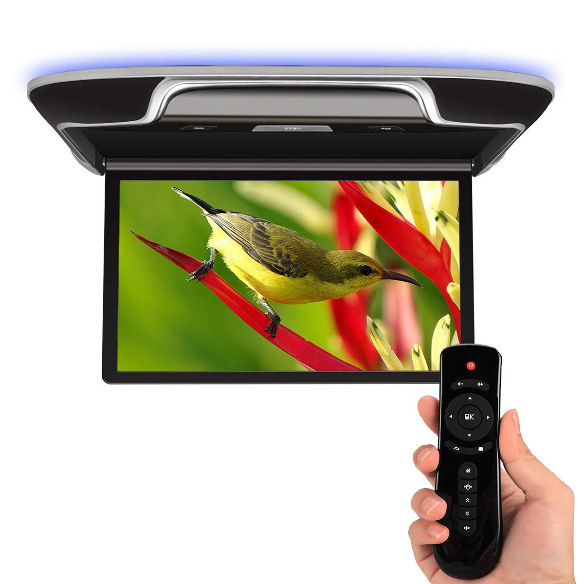 Android 13'' Overhead Flip Down Video Monitor TV Car Multimedia Player IPS 4K, Support WiFi, FM, Bluetooth, HDMI, USB, SD Card - Black