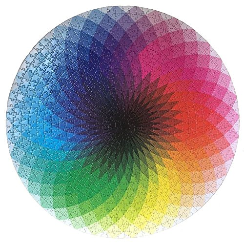 LRRH 1000 Pcs Round Jigsaw Puzzles Rainbow Palette Intellectual Game for Adults and Kids ()
