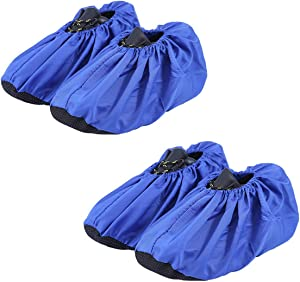 JIAQUAN 2 Pairs Non Slip Washable Reusable Shoe Covers Boot Covers, Durable Nylon Material Dustproof Shoe Covers for Indoors Household Contractors Travel, Standard Size (Blue Color)