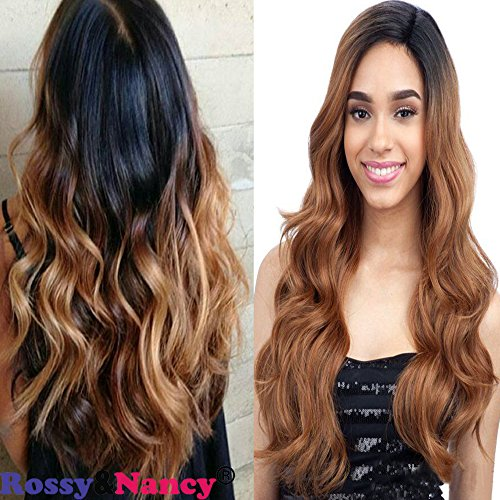 Price comparison product image Rossy&Nancy Natural Looking Ombre Brown Wigs Synthetic Dark Roots Black to Brown Heat Resistant Half Hand Tied Long Wavy Glueless Synthetic Wigs for Black Women