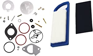 DEF 796184 Carburetor Overhaul Rebuild Kit with 697014 Air Filter for Briggs & Stratton Lawn Mower Tractor